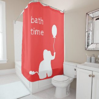 White elephant balloon outline red shower curtain