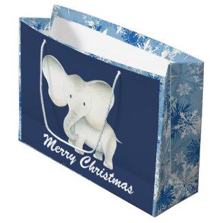 White elephant blue snowflake Christmas party bag