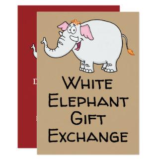 White Elephant Exchange Cartoon Card