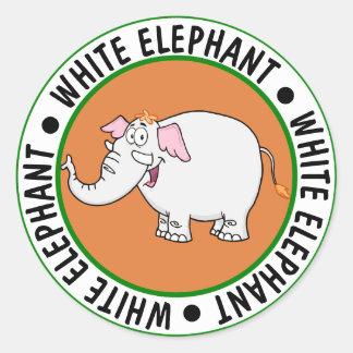 White Elephant Exchange Cartoon Classic Round Sticker
