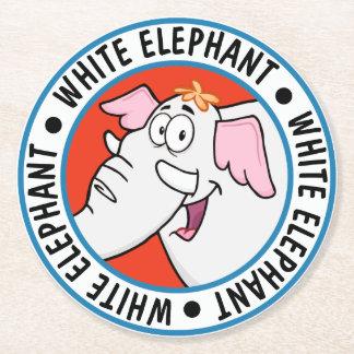 White Elephant Exchange Cartoon Round Paper Coaster