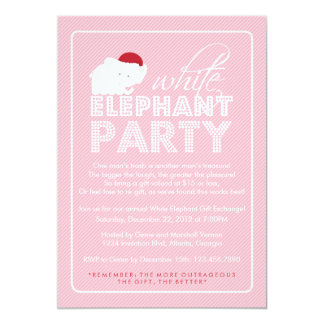 """White Elephant Gift Exchange Holiday Party 5"""" X 7"""" Invitation Card"""