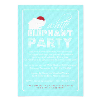 White Elephant Gift Exchange Holiday Party Personalized Invite