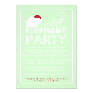 White Elephant Gift Exchange Holiday Party Personalized Announcements