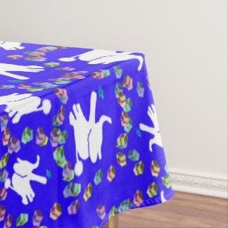 White elephant Hanukkah tablecloth with dreidels
