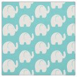 White Elephant Pattern Aqua Fabric