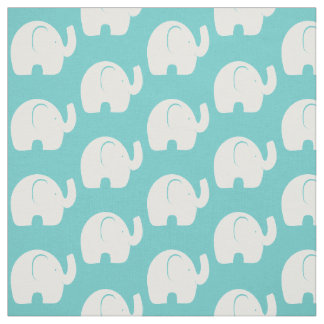 White Elephant Pattern Aqua Fabric