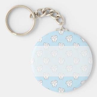 White Elephant Pattern on Pale Blue. Keychain
