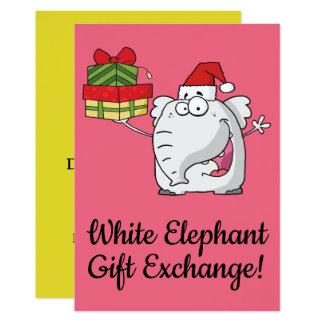 White Elephant Santa Hat Gifts Cartoon Card