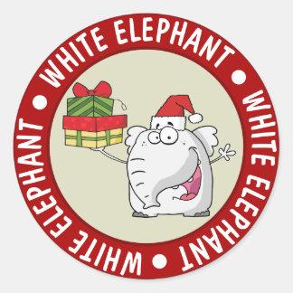 White Elephant Santa Hat Gifts Cartoon Classic Round Sticker