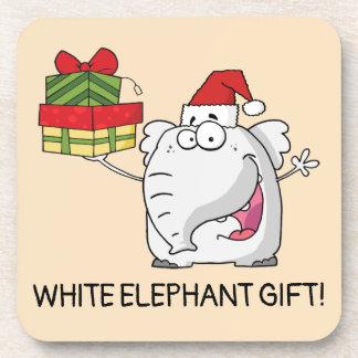 White Elephant Santa Hat Gifts Cartoon Coaster