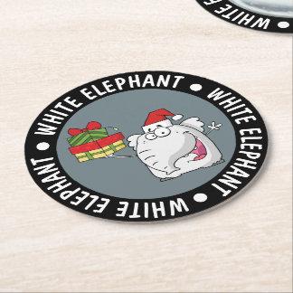 White Elephant Santa Hat Gifts Cartoon Round Paper Coaster