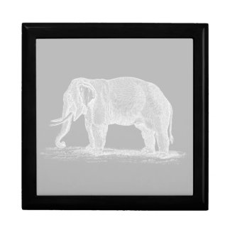 White Elephant Vintage 1800s Illustration Gift Box