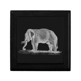 White Elephant Vintage 1800s Illustration Keepsake Boxes