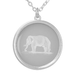 White Elephant Vintage 1800s Illustration Silver Plated Necklace