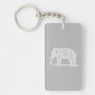 White Elephant Vintage 1800s Illustration Single-Sided Rectangular Acrylic Keychain