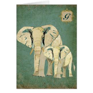 White Elephants Monogram Notecard Stationery Note Card