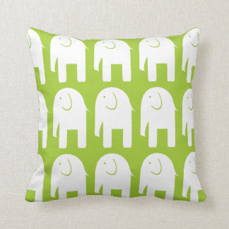 White Elephants on Green Throw Pillow