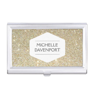WHITE EMBLEM ON GOLD GLITTER Business Card Holder
