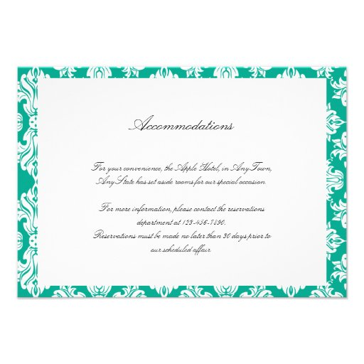 White Emerald Green Damask Wedding Insert Personalized Announcements