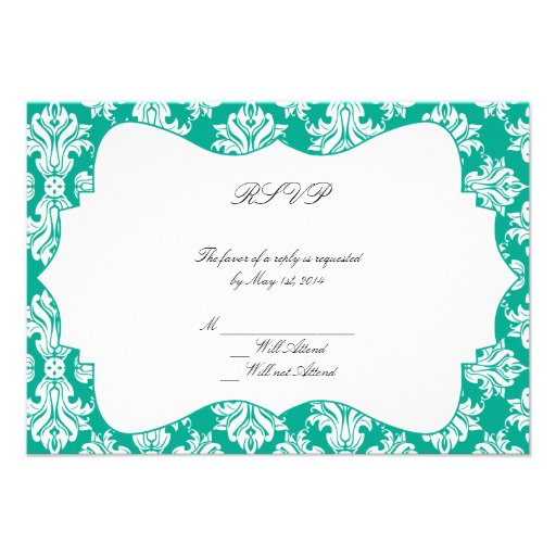 White Emerald Green Damask Wedding Response Card Invitations