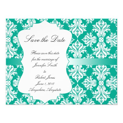 White Emerald Green Damask Wedding Save the Date Personalized Announcements
