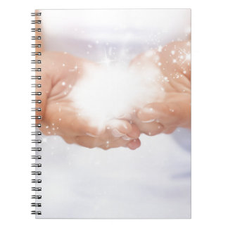 white energy healing hands reiki healer shaman notebook