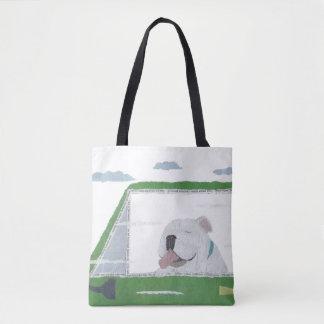White English Bulldog, Bulldog, Colorful, Pop Tote Bag
