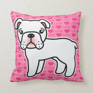 White English Bulldog Cartoon Dog On Pink Throw Pillow