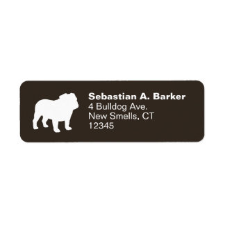 White English Bulldog Silhouette Return Address Label