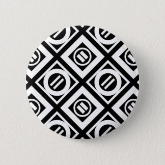White Equal Sign Geometric Pattern on Black 2 Inch Round Button