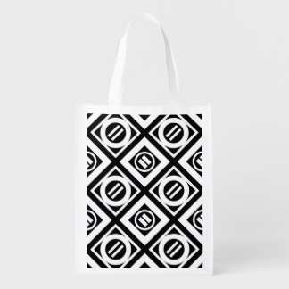 White Equal Sign Geometric Pattern on Black Reusable Grocery Bag
