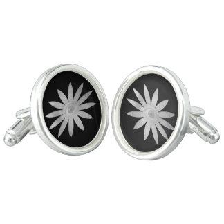 White Eye Flower Cuff Links