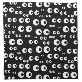 White Eyes/Black Background Cloth Napkins