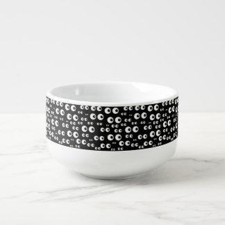 White Eyes/Black Background Soup Mug