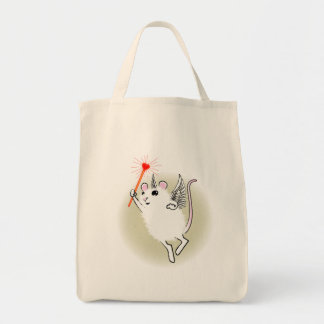 White Faerie Mouse Grocery Tote Bag