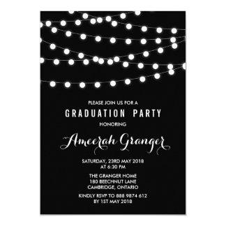 White Fairy Lights   Black Graduation Invitation