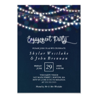 White Fairy Lights Blue Engagement Party Card