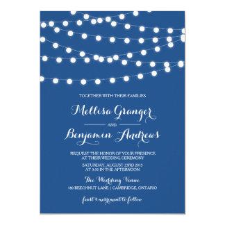 White Fairy Lights   Blue Wedding Invitation
