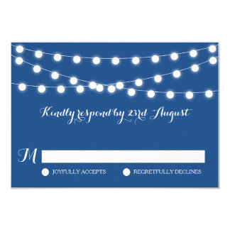 White Fairy Lights   Blue Wedding RSVP Card
