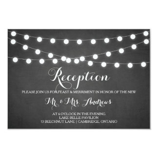White Fairy Lights Chalkboard Reception Card