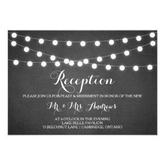 White Fairy Lights Chalkboard Reception Card Custom Invitation