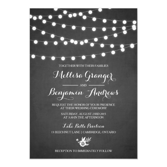 White Fairy Lights Chalkboard Wedding Invitation