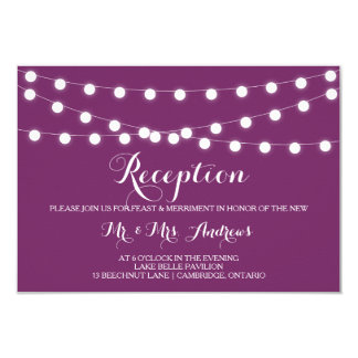 "White Fairy Lights | Purple Wedding Reception Card 3.5"" X 5"" Invitation Card"