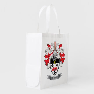 White Family Crest Coat of Arms Grocery Bag