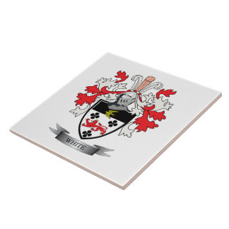 White Family Crest Coat of Arms Tile