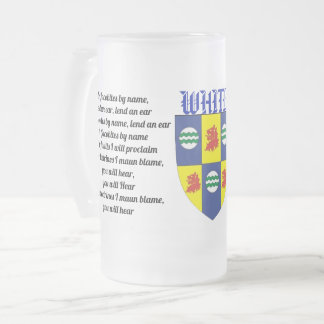 White Family (Jacobites) Frosted Glass Beer Mug