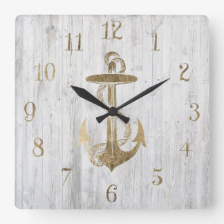 White faux gold nautical anchor vintage white wood square wall clock