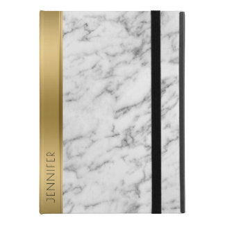 "White Faux Marble Gold Accent iPad Pro 9.7"" Case"
