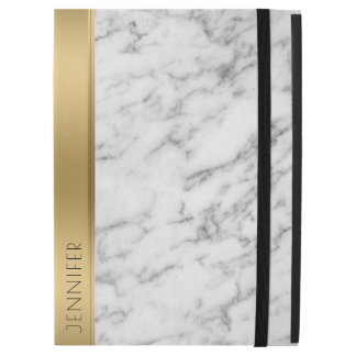 "White Faux Marble Gold Accent Modern Design iPad Pro 12.9"" Case"